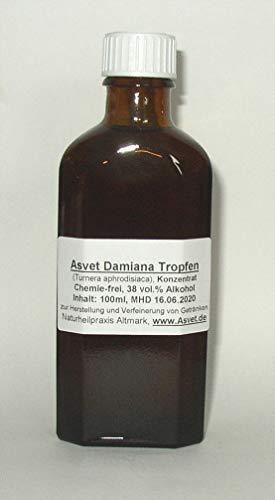 Asvet 100ml Damiana Tropfen, T. aphrodisiaka Extrakt, Reine Handarbeit, 100% vegan und natürlich, Konzentrat ohne Chemie ! -