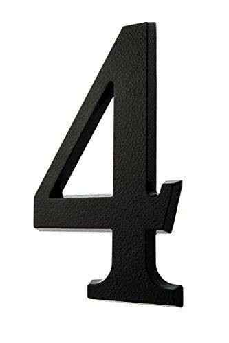 HUBER Hausnummer Nr. 4 Aluminium pulverbeschichtet anthrazit/schwarz 20 cm, edles dreidimensionales Design