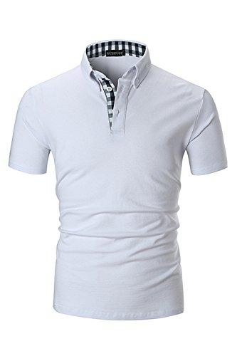 YCUEUST Herren Kurzarm Poloshirt Polohemd Polo Shirts mit Kariert Polokragen Weiß EU M
