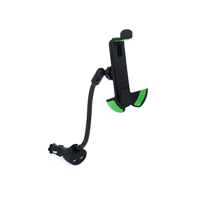 Support Voiture - Kasos Support Téléphone Voiture avec Allume Cigare Automobile Dual USB Car Charger