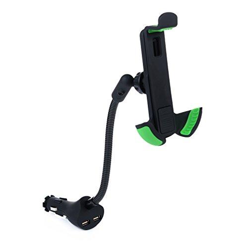 Cargador de Coche con Dual USB para automóviles - Kasos Cargador con Soporte para teléfono Cargador con doble puerto USB para iPhone SE/ 6/ 6S/ 6 Plus/ Samsung J5/ J7/ Huawei P8 Lite/ P9