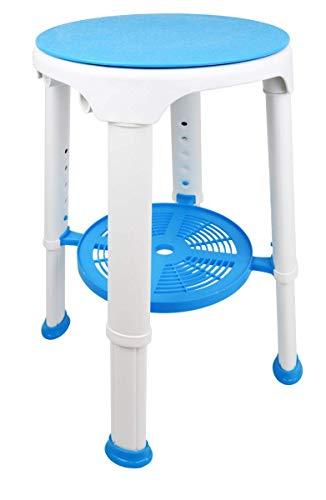 Verstellbarer Sitz In Der Dusche (Teckmedi Duschhocker, weiß/blau Badhocker Duschstuhl Hocker mit Drehsitz und praktische Ablage, bis 180 kg)
