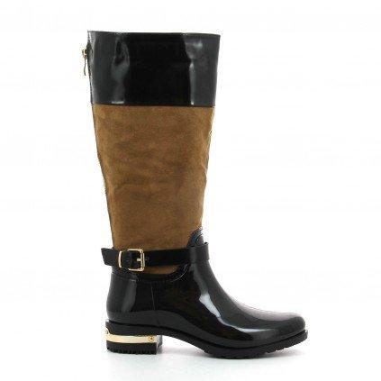 Ideal Shoes - Bottes de pluie bi-matière avec talon ferré et zip arrière Floriane Noir