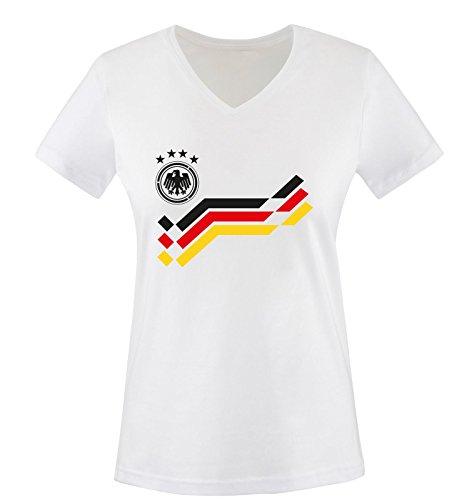EM 2016 - DEUTSCHLAND - Retro - TRIKOT - Damen V-Neck T-Shirt - Weiss / Schwarz Gr. XXL