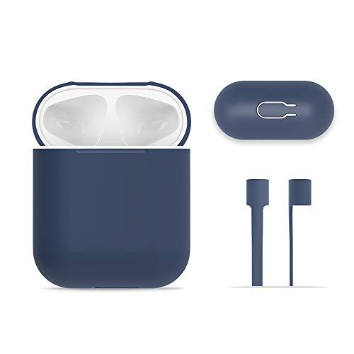 AirPods Case Schutz, FRTMA Silikon Skin Case mit Sport Strap für Apple AirPods, Mitternachts Blau