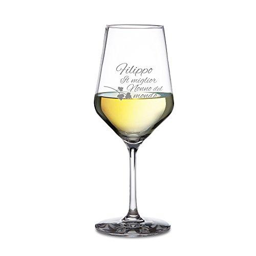 AMAVEL - Calice da Vino Bianco - Bicchiere in Vetro con Incisione - Il Miglior Nonno del Mondo - Personalizzabile con [NOME] - Idea Regalo di Natale o di Compleanno per il Nonno - Calice da Collezione