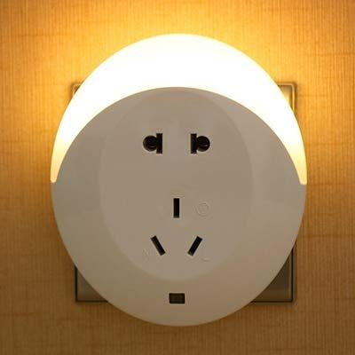 HNZZN Smart Design Nachtlicht mit Lichtsensor Dual USB Wall Plate Charger AC100-240V Wandleuchte für Schlafzimmer Home Illumination EU/US, Beige, 6-10W - Design Charger Plate