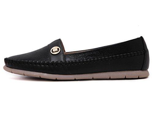 Fortuning's JDS Simple Style Metallic Chaussures plates Casual semelle souple avec cordes Noir