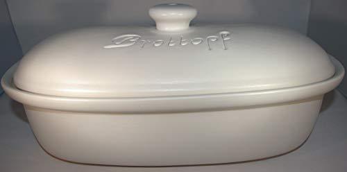 Töpferei Seifert Brottopf Weiss matt Gross 40 cm   Brotkasten   Brotbox   Brotdose   Brotbehälter   Steinzeug   LxB 41x25
