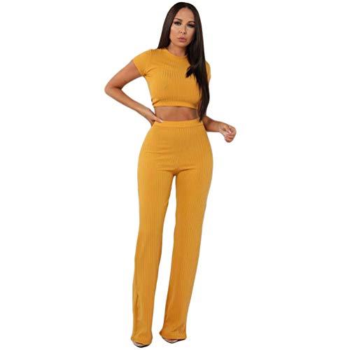 Xinwcang Damen Jumpsuit Zweiteiler Weitem Bein Hose und Top 2 Piece Outfits Overall Set Gelb S