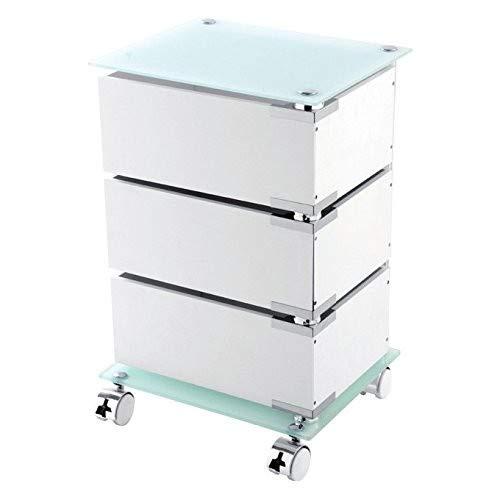 Feridras 221005-b carrello, 3 cassetti girevole, acciaio, bianco, 30x36.5x58.5 cm