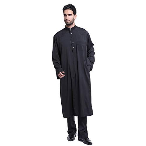 serliy Arabische Kostüme Recpectable Rabbi Robe stilvoll lässig Reißverschluss Oversize Langarm lose knöchellangen Stickerei Top Bluse - Arabische Kostüm Männer