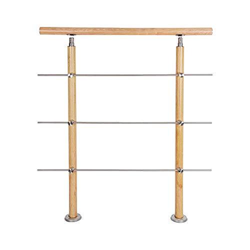 HENGMEI 80cm Treppengeländer Aluminium und Edelstahl-Handlauf Geländer Geländerstäben Terrassengeländer Bausatz Treppen, Holzmuster (80m,3 Querstreben)