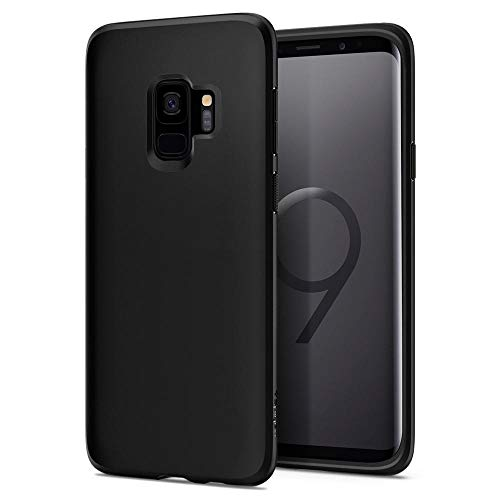 Spigen [Liquid Crystal Samsung Galaxy S9 Hülle (592CS22825) Matte Schwarz Silikon Handyhülle Passgenau Kratzfest Schutzhülle Case (Matte Black)