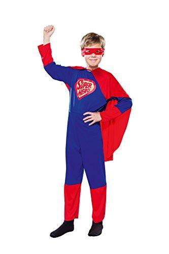 Kinderkostüm Superheld (Overall, Cape, Maske) (122/128)