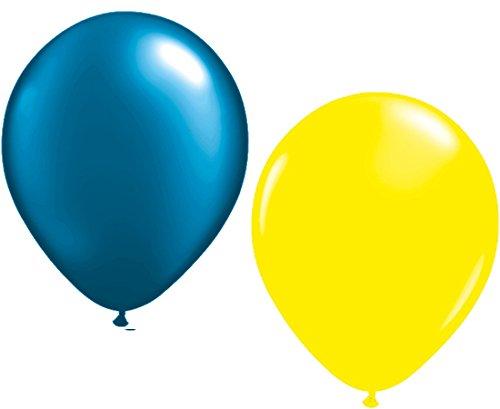 Unbekannt 100 Luftballons je 50 x dunkelblau & gelb Partyballons 27 cm Ø (Gelbe Blaue Luftballons Und)