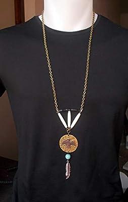 Pendentif ethnique mexicain aigle aztèque plume