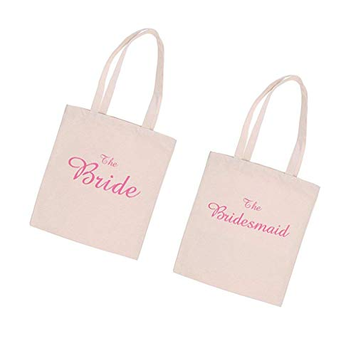 FashLady Pack of 2 Wedding The Bride Bridesmaid Canvas Tote Gift Bag Hen Party Carrier Bag White