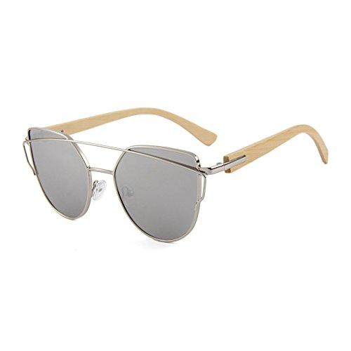LX-LSX Sonnenbrille-Bambuskatzen-Augen-Farbobjektiv-Frauen-Metallgezeitenstrom-hölzerne Bequeme und dauerhafte Blendschutzgläser (Farbe : Bamboo Foot Silver Frame Silver Lens)