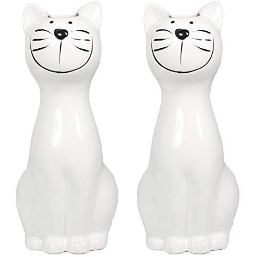 2er Set Luftbefeuchter - Katze - für Heizung aus hochwertigem Dolomit Luftreiniger Wasserverdunster Verdamper verdunster Klima in weiß