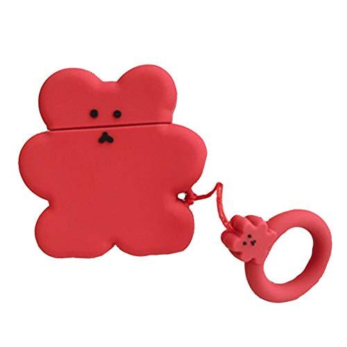 Aisoway Super Nette Süßigkeit-Farben-Kopfhörer-Fall-Plätzchen-Bären-Fall-weiche Silikon-Wireless-Charging Headset Wasserdicht Schutz (rot) -