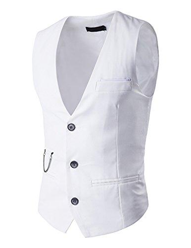 Leisure Herren V-Ausschnitt Ärmellose Westen Slim Fit Jacke Lässige Weste Anzug Business Anzugweste - Weiß, Gr.XL