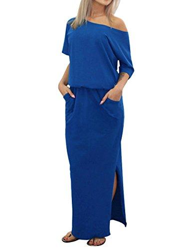 ISASSY Mujer Verano Boho Split largo Maxi vestido de un hombro playa desgaste noche fiesta casual Vestidos Azul azul XX-Large