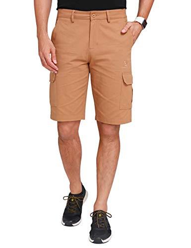 CAMEL CROWN Herren Cargo Shorts Sweatshorts Kurze Hose Reißverschluss 100% Baumwolle Sommer Shorts für Männer Lässige Hosen mit Taschen Freizeithose Regular Fit -