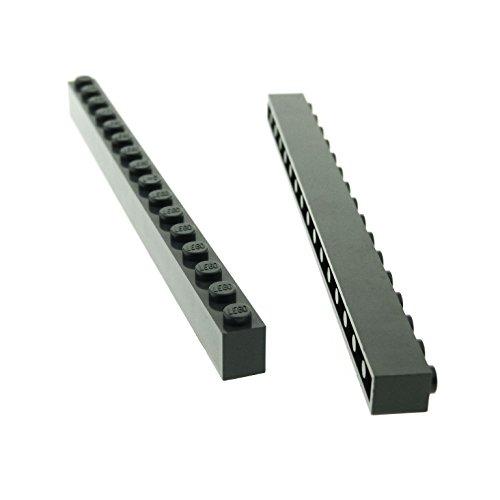 2 x Lego System Basic Bau Stein neu-dunkel grau 1 x 16...