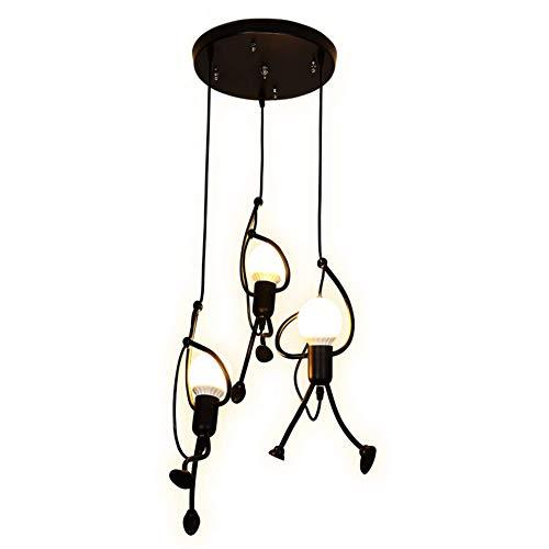 ngdong Der Bösewicht Kronleuchter,schwarz Eisen] Mini Pendelleuchte Retro Regentropfen Café Bekleidungsgeschäft Kunst] Pendant Lampen-a ()