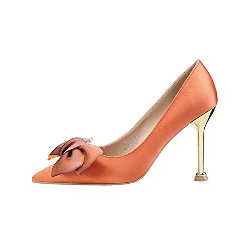 TYD.L High Heels 608-030 Frauen Satin + Gummi Mode Elegant Sexy Stöckelschuhe Arbeitsschuhe Schuhe Anziehen Frühling Und Sommer 9,5 cm 5 Farben (Farbe : Orange, größe : EU37/UK4.5-5/CN37) Moda Satin-heels