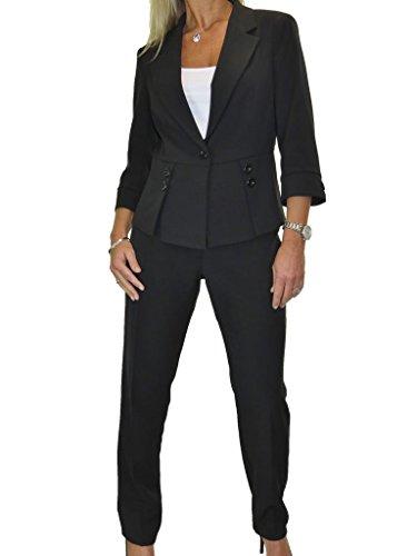 ICE Donne i Pantaloni Completo per Ufficio o Business lavabile 40 a 52 Nero