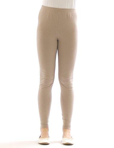 Kinder Mädchen Leggings lang blickdicht aus Baumwolle Hose Jungen Beige 140