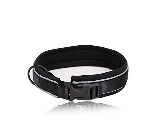 ALiYangYang Verstellbares Hundehalsband mit Sicherheitsschloss Gepolsterte, weich reflektierende Haustierhalsbänder mit 3M gestreiftem Nylon-Gurtband zum Laufen,Schwarz,S -