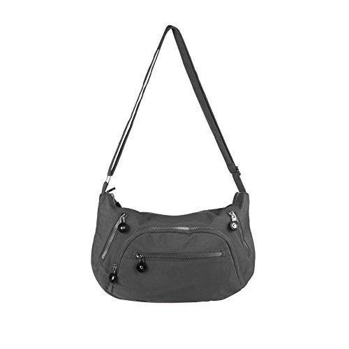 OBC Ital-design Unisex Erw. & Kinder Tasche Schultertasche Freizeit Shopper Umhängetasche (Rosa) Grau 39x23x9 cm