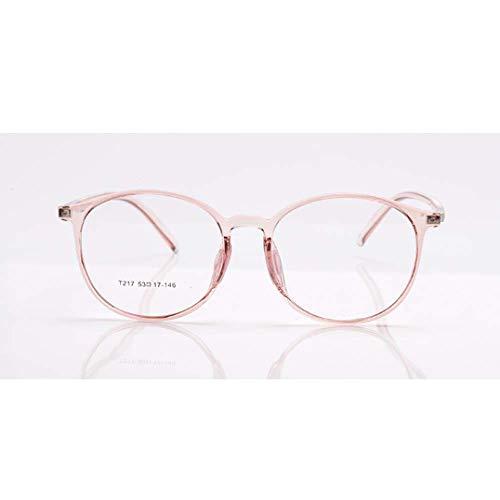 JRP Lesebrille,Ultraleicht Anti-Blaulicht Großer Runder Rahmen Anti-Uv Alter Mann Brille Mode Hd Harz Müdigkeitsprävention Brille Unisex Exquisit/Rosa / +4.0