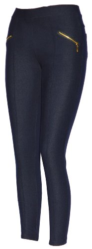 Donna Thermo Jeans Leggings, Jeggings jeans, Tessuto in jeans blu o jeans nero Blu jeans