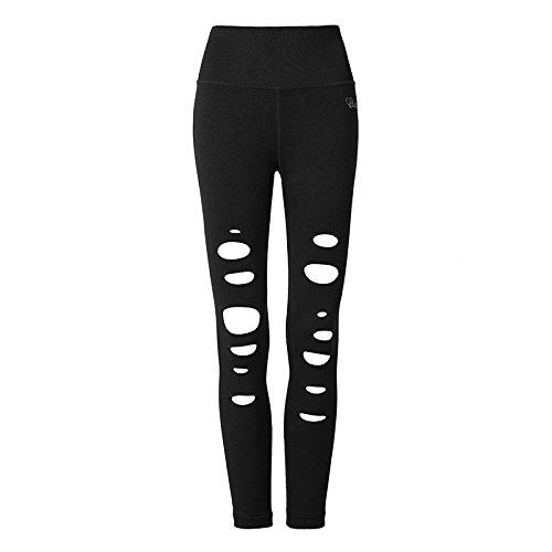 Erica Leggings Ripped Slim Yoga Yoga Fitness Running Pantalon cheville longueur élastique black