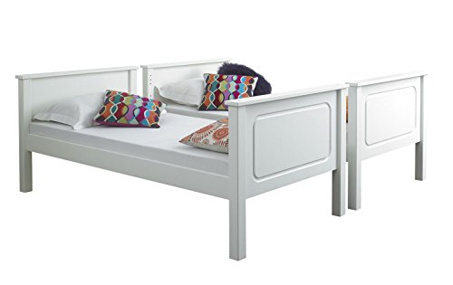 Happy Beds Vancouver White Finished Solid Pine Wooden Bunk Bed With 2x Pocket Sprung Mattress