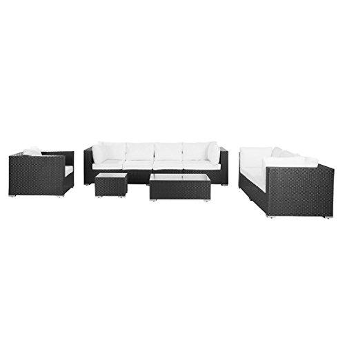 Beliani Gartenmöbel schwarz - Rattan Lounge - Sitzgruppe - Gartenset - Maestro