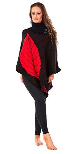 Beaulook - Poncho -  donna BLACK RED LEAF