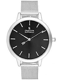 Reloj mujer Charlotte rafaelli de cuarzo reloj negro 36 mm y pulsera plateado malla crms008