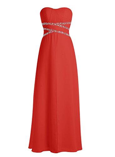 Bbonlinedress Robe de demoiselle d'honneur Robe de soirée en mousseline longueur ras du sol Rouge