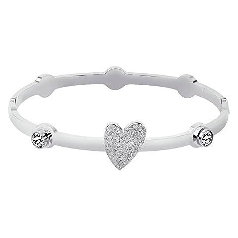 AnaZoz Bracelet Cuff Acier Inoxydable pour Femme Cœur Round Cubic Zirconia Argent