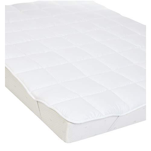 AmazonBasics - Weiche Matratzenauflage mit Mikrofaser-Polyester-Füllung und Riemen, 90 x 200 cm, Weiß