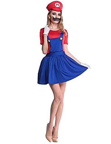 thematys Super Mario Luigi Mütze + Kleid + Bart + Handschuhe - Kostüm-Set für Damen - perfekt für Fasching, Karneval & Cosplay (S, 150cm-155cm) (Und Luigi-kostüme Mario Frauen)