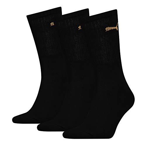 Puma 3 Pack Crew Sports Socks - Black/Gold UK 68