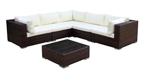 Baidani Gartenmöbel-Sets 10c00017.00002 Designer Lounge-XXL-Sofa Sunshine, Sofa, Beistelltisch, braun