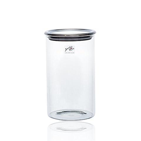 Vase en verre cylindrique avec couvercle transparent de rangement par Sandra riche, Verre, claire, 20,5 cm high