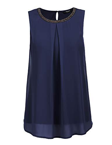 Finejo Damen Sommer Ärmellos O-Ausschnitt Casual Chiffon Solide Weste Bluse Tank Tops Camis Frauen T Shirt Tees Blau L - Bluse Blazer